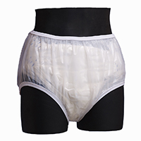Pull-On plastic pants disposable cut